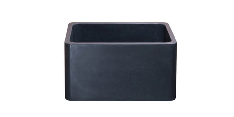"Black Lava 17"" Stone Farmhouse Sink, Black, KF171710-BL"