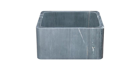 "17"" Soapstone Farmhouse Sink, Smooth Reversible Apron Front, Charcoal Marquina, KF171710-CMS"