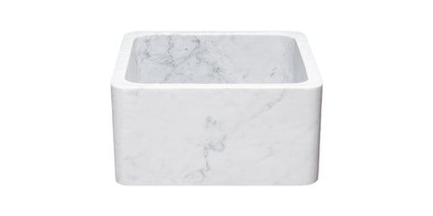"Carrara Marble 17"" Stone Farmhouse Sink, White, KF171710-CW"