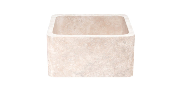 "Roma Travertine 17"" Stone Farmhouse Sink, Beige, KF171710-RT"