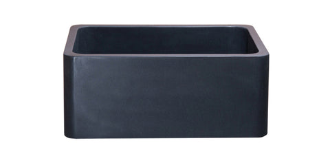"Black Lava 24"" Stone Farmhouse Sink, Black, KF242010-BL"