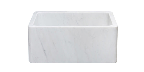 "Carrara Marble 24"" Stone Farmhouse Sink, White, KF242010-CW"