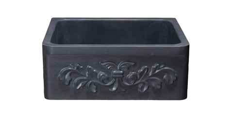 "Black Lava 24"" Stone Farmhouse Sink, Black, KF242010-F2-BL"