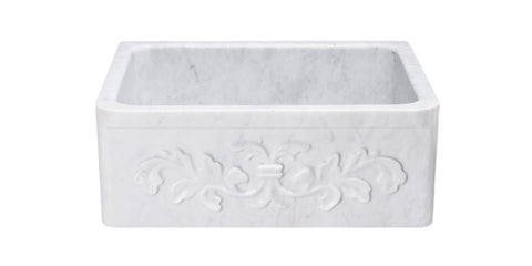 "Carrara Marble 24"" Stone Farmhouse Sink, White, KF242010-F2-CW"