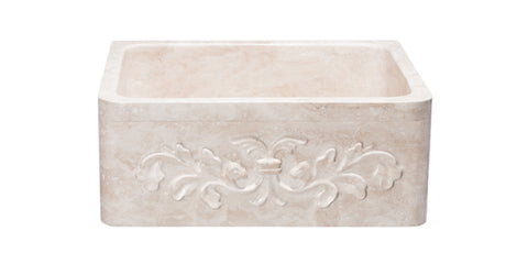 "Roma Travertine 24"" Stone Farmhouse Sink, Beige, KF242010-F2-RT"