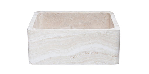 "Roma Travertine 24"" Stone Farmhouse Sink, Beige, KF242010-RT"