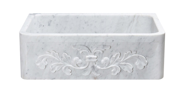 "Carrara Marble 30"" Stone Farmhouse Sink, White, KF302010SB-F2-CW"