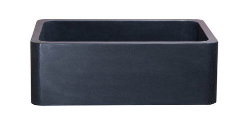 "Black Lava 30"" Stone Farmhouse Sink, Black, KF302010SB-NLP-BL"