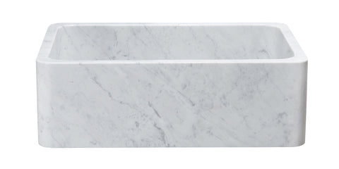 "Carrara Marble 30"" Stone Farmhouse Sink, White, KF302010SB-NLP-CW"