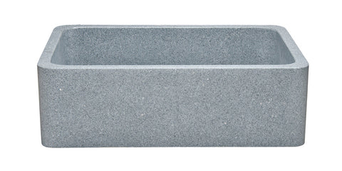 "Mercury Granite 30"" Stone Farmhouse Sink, Gray, KF302010SB-NLP-M"