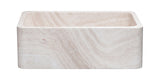 "Roma Travertine 30"" Stone Farmhouse Sink, Handcrafted, Reversible"