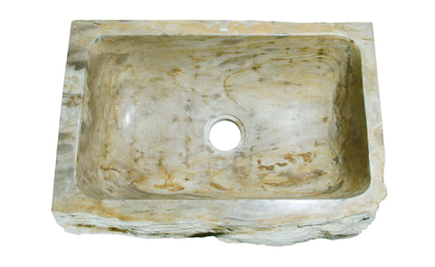Allstone Group Beige, Taupe Petrified Wood Farmhouse Kitchen Sink KF302110SB-PEWD-3 Top
