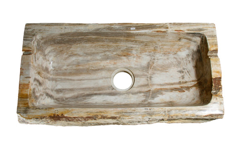 Allstone Group Beige, Taupe Petrified Wood Farmhouse Kitchen Sink KF33178SB-PEWD-4 Top