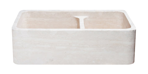 "Roma Travertine 33"" Stone Farmhouse Kitchen Sink, KF332010DB-NLP-6040-RT"