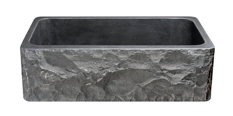 "Black Basalt 33"" Stone Farmhouse Kitchen Sink, KF332010SB-BE-BB"