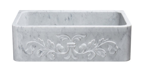 "Carrara Marble 33"" Stone Farmhouse Sink, White, KF332010SB-F2-CW"