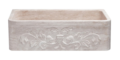 "Roma Travertine 33"" Stone Farmhouse Sink, Beige, KF332010SB-F2-RT"