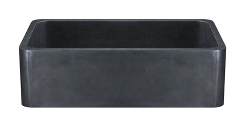 "Black Basalt 33"" Stone Farmhouse Kitchen Sink, KF332010SB-NLP-BB"