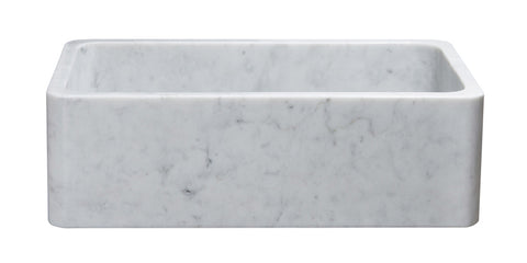 "Carrara Marble 33"" Stone Farmhouse Sink, White, KF332010SB-NLP-CW"
