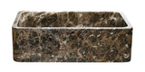"Emperador Dark Marble 33"" Stone Farmhouse Sink, Handcrafted, Reversible - The Sink Boutique"