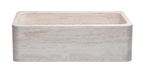 "Roma Travertine 33"" Stone Farmhouse Sink, Beige, KF332010SB-NLP-RT"
