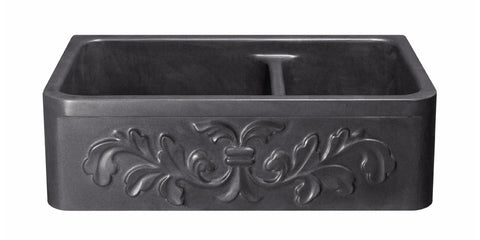 "Black Lava 36"" Stone Farmhouse Kitchen Sink, KF362010DB-F2-6040-BL"