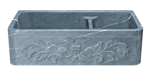 "36"" Soapstone Farmhouse Sink, 60/40 Double Bowl, Design Apron Front, Charcoal Marquina, KF362010DB-F2-6040-CMS"