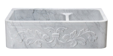 "Carrara Marble 36"" Stone 60/40 Double Bowl Farmhouse Sink, White, KF362010DB-F2-6040-CW"