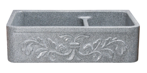 "Mercury Granite 36"" Stone 60/40 Double Bowl Farmhouse Sink, Gray, KF362010DB-F2-6040-M"