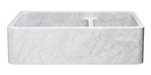 "Carrara Marble 36"" Stone 60/40 Double Bowl Farmhouse Sink, White, KF362010DB-NLP-6040-CW"