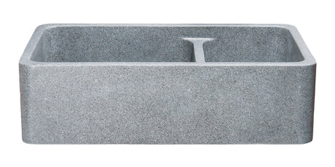"Mercury Granite 36"" Stone 60/40 Double Bowl Farmhouse Sink, Gray, KF362010DB-NLP-6040-M"