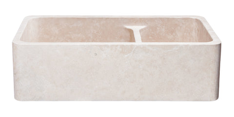 "Roma Travertine 36"" Stone 60/40 Double Bowl Farmhouse Sink, Beige, KF362010DB-NLP-6040-RT"
