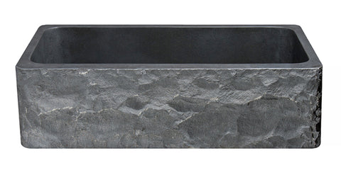 "Black Basalt 36"" Stone Farmhouse Kitchen Sink, KF362010SB-BE-BB"