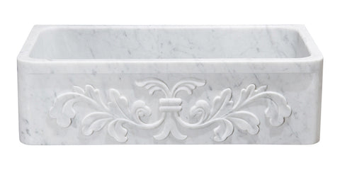 "Carrara Marble 36"" Stone Farmhouse Sink, White, KF362010SB-F2-CW"
