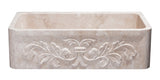 "Roma Travertine 36"" Stone Farmhouse Sink, Beige, KF362010SB-F2-RT"