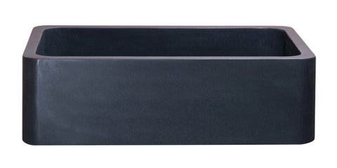 "Black Lava 36"" Stone Farmhouse Sink, Black, KF362010SB-NLP-BL"