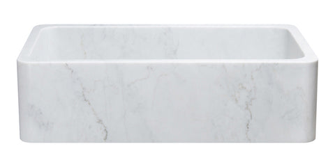"Carrara Marble 36"" Stone Farmhouse Sink, White, KF362010SB-NLP-CW"