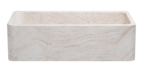 "Roma Travertine 36"" Stone Farmhouse Sink, Handcrafted, Reversible - The Sink Boutique"