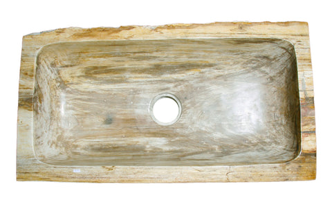 Allstone Group Red Orange, Taupe Petrified Wood Farmhouse Kitchen Sink KF362010SB-PEWD-2 Top
