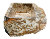 Allstone Group Brown, Cream, Red Orange Petrified Wood Farmhouse Kitchen Sink KF362210SB-PEWD-1 Side 1