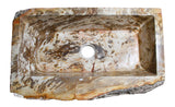 Allstone Group Brown, Cream, Red Orange Petrified Wood Farmhouse Kitchen Sink KF362210SB-PEWD-1 Top View