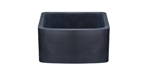 "Black Lava 17"" Stone Farmhouse Sink, Black, KFCF171810-BL"