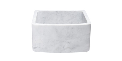 "Carrara Marble 17"" Stone Farmhouse Sink, White, KFCF171810-CW"