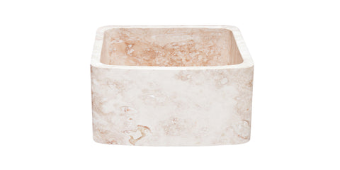 "Roma Travertine 17"" Stone Farmhouse Sink, Beige, KFCF171810-RT"
