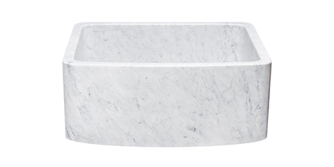 "Carrara Marble 24"" Stone Farmhouse Sink, White, KFCF242110-CW"