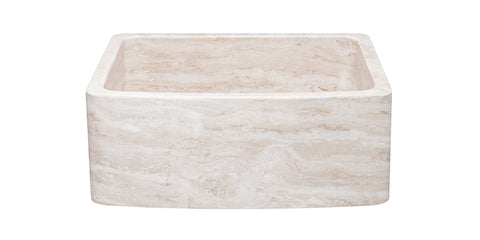 "Roma Travertine 24"" Stone Farmhouse Sink, Beige, KFCF242110-RT"