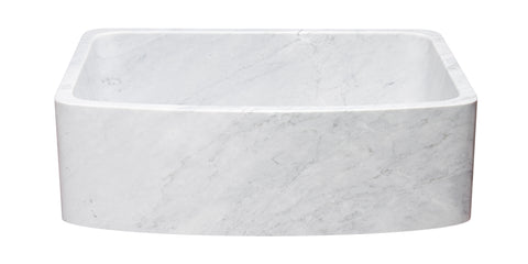 "Carrara Marble 30"" Stone Farmhouse Sink, White, KFCF302210SB-NLP-CW"