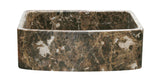 "Emperador Dark Marble 30"" Stone Farmhouse Sink, Handcrafted, Reversible - The Sink Boutique"