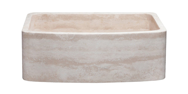 "Allstone 30"" x 22"" Handcrafted Reversible Stone Farmhouse Sink, Roma Travertine, KFCF302210SB-NLP-RT - The Sink Boutique"