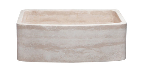 "Roma Travertine 30"" Stone Farmhouse Sink, Beige, KFCF302210SB-NLP-RT"